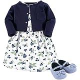 Hudson Baby 女婴 3 件套连衣裙、开衫、鞋套装