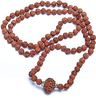 Wonder Care Original Rudraksha Mala - 108 颗珠子(5 面)+ 1 个大师珠(9 面)正品喜马拉雅路亚种子 宗教装饰品念珠日本玛拉项链 - 尼泊尔进口