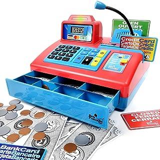 Ben Franklin Toys 会说话的玩具现金登记册 - 商店学习玩具组合 3 种语言,分页麦克风,信用卡,银行卡玩耍资金 36 months to 180 months 大 红色