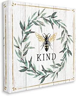 Stupell Industries Bee Kind Phrase Country Farm 昆虫宾关语,由伊丽莎白·廷达尔设计帆布墙壁艺术,24 x 24,米白色