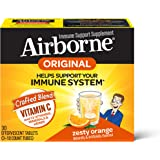 Airborne 气载橙子VC泡腾片(一盒30粒),无麸质,有益于身体的补充剂和高抗氧化剂,包装可能有所不同,1000毫…