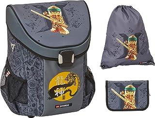 Lego 乐高 NINJAGO Gold 主题书包套装 Easy,3 件套,仅 790 克,学校套装带有 Lego NINJAGO Gold 主题,书籍袋约39 x 29 x 22 厘米,18 升,背包带填充笔袋和运动包。