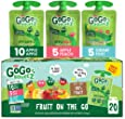 GoGo SqueeZ Applesauce on the Go, Variety Pack (Apple Apple/Apple Peach/Apple GIMME 5), 3.2 Ounce Portable BPA-Free Pouches, Gluten-Free, 20 Total Pouches