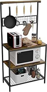 Gadroad Baker's Rack,67 英寸(约 169.9 厘米)微波炉支架,带实用存储和 10 个挂钩。厨房面包机架带金属框架,用于餐具、锅、平底锅、香料。乡村棕色和黑色