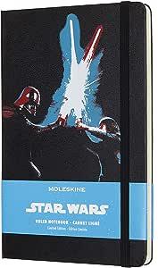Moleskine 线纹笔记本 星球大战限量版(带有星球大战主题图案,光剑主题图案,大小款式13 x 21cm) 240页,黑色