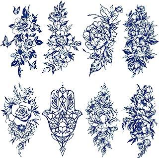 Kotbs 8 张半永久性花卉纹身,适合女性女孩,可持续 1-2 周经典菊花玫瑰高级临时纹身,适合成人儿童,防水逼真逼真的深蓝色假纹身