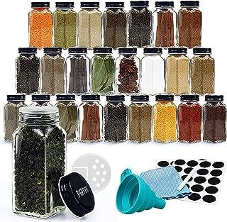 FuzeDa 24 件带标签调味罐,4 盎司(约 113.4 克)空方形香料瓶,带摇杯盖和黑色金属盖,调味罐适用于香料架、橱柜(含布子、钢笔和漏斗)。