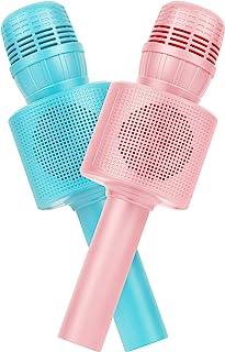 FELIZROCA 幼儿玩具麦克风,2 件装卡拉 OK 麦克风儿童派对,无线蓝牙麦克风扬声器,适合女孩男孩礼物(粉色+蓝色)