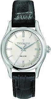 "TRUSSARDI 男式""T-Light""石英不锈钢皮革休闲手表,颜色:黑色(型号:R2451127004)"