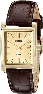 SEIKO 男式棕色皮革表带太阳能连衣裙手表