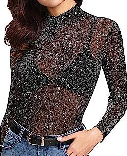 Knemksplanet 女式长袖网眼衬衫透视网眼薄纱上衣紧身俱乐部服衬衫衬衫