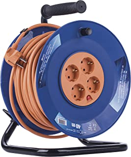 EMOS 专业电缆卷筒,40 米电线,带 4 个插座,1.5 毫米Schuko,特殊塑料,室内使用(适用于家庭/车间/房车)