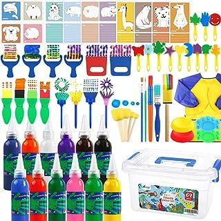 AROIC 64 件可水洗手指颜料套装,带手指涂料、海绵、油漆刷、防水罩、调色板、卡片、储物盒,适合早期学习儿童