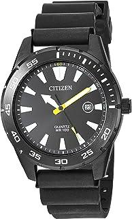 Citizen 西铁城 男士不锈钢日本石英聚氨酯手表,黑色,22休闲手表(型号:BI1045-13E)