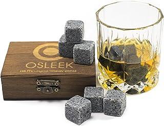 Whiskey Stones - 礼品 9 件套纯肥皂岩 | 替换冰块 | 无水稀释 | 包括冷冻天鹅绒袋,装饰性手工木盒包装