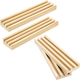 木制多米诺骨牌架多米诺骨牌托盘架收纳盒天然木多米诺骨牌托盘,带 3 个倾斜排,适用于墨西哥火车鸡脚麻将和其他多米诺牌游戏,4 件
