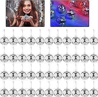 42 件镜子迪斯科球派对银色悬挂迪斯科球带紧固带旋转玻璃迪斯科球家居装饰树装饰适用于派对节日圣诞阶段(1.6 英寸直径)