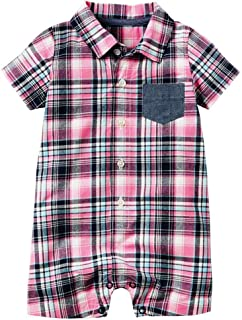 Carter's Baby Polo Plaid Pink Romper