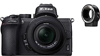 Nikon 尼康 Z 50 无线单反相机,采用尼康 16-50 毫米,1:3.5-6.3 VR 和 FTZ 适配器(20.9 MP,OLED 取景器 2.36 Mill。图像点,11 帧/秒混合AF 带聚焦 助理, 4K UHD 视频)