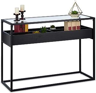 Relaxdays 控制台桌,玻璃架,4个隔层,高宽深:80.5x110x40 厘米,窄金属控制台,走廊和客厅,黑色