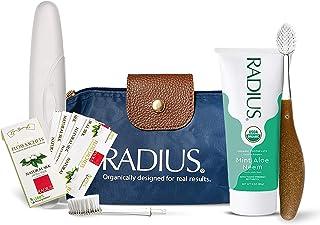 RADIUS Clean & Green 豪华口腔护理套装(带替换头的来源牙刷,*薄荷芦荟苦楝牙膏,素食木糖醇薄荷牙线,旅行箱),1 件
