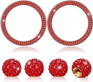 Bling 汽车配件套装包括 2 件水晶汽车贴纸戒指水钻徽章贴纸和 4 件水晶水钻杆套轮胎阀防尘盖适用于汽车装饰(红色)