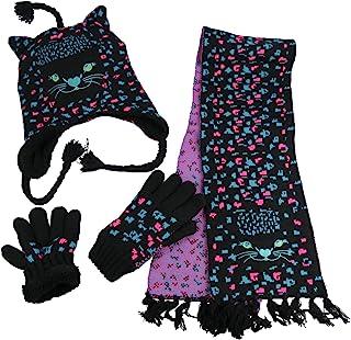 N'Ice Caps 女童可爱猫咪保暖夏尔巴衬里针织 3 件套冬季配件套装