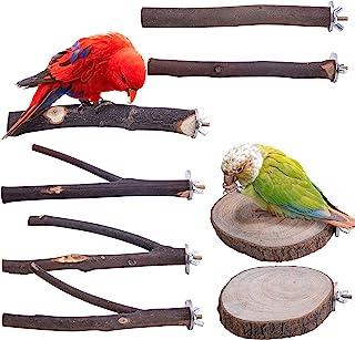 Deloky 8 件天然木材鸟栖息地支架 - 木制鹦鹉栖息地站立平台笼子配件适用于鹦鹉、Budgies 鹦鹉、鹦鹉、鹦鹉、鹦鹉、鹦鹉、鹦鹉、鹦鹉、鹦鹉、鹦鹉、鹦鹉、鹦鹉、