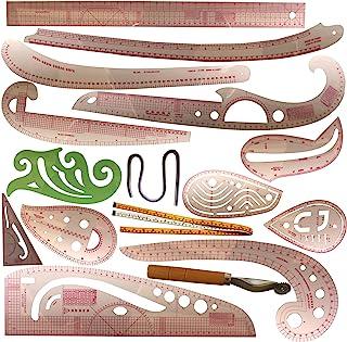 法国曲线尺,用于图案制作 16 件髋关节曲线尺针缝纫尺和曲线 英寸透明弹性缝纫尺套装