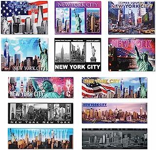 12 件套独特纽约市天际线设计全景和明信片磁贴 - 特色是帝国建筑、自由雕像、自由塔和纽约纪念品