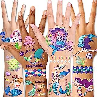 儿童临时纹身(98 件),Konsait 闪亮美人鱼纹身适合儿童女孩生日派对用品*的儿童派对配件礼品袋填充物派对填充物万圣节服装