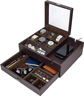 HOUNDSBAY Commander Dresser Valet 手表盒和男式珠宝盒收纳盒带智能手机充电站 棕色/棕色