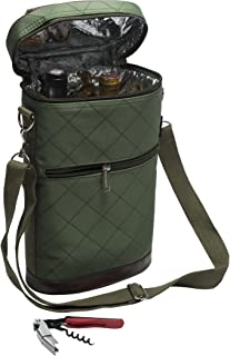 LUDI-VIN 5060388472504 Haute Couture 冷藏袋瓶和开瓶织物卡其色 21.5 x 11.5 x 34 cm 2 件套