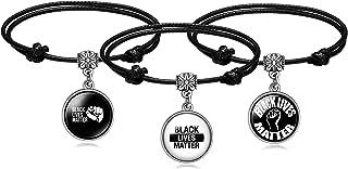 JUST MEET YOU 黑色 BLM 编织皮革绳手链 Live Yourself Fearless I am Black I am Proud Opposes 男女种族歧视
