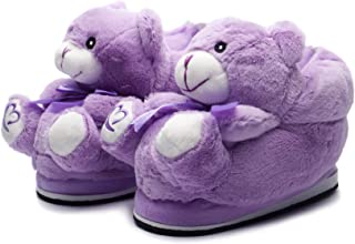 katara–HOME 毛绒冬季拖鞋防滑带可爱泰迪熊儿童和成人–紫罗兰色