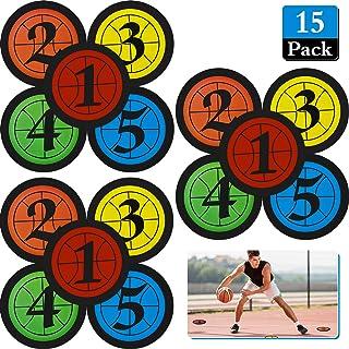 Outus 15 件篮球训练标记贴纸数字地板点标记平面圆盘标记 7.5 英寸聚乙烯乙烯基运动防水记号笔