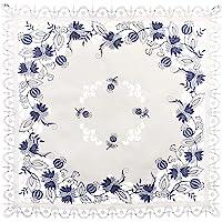 亚麻布,Art and Things 刺绣奢华蓝色洋葱花桌布,小桌布,咖啡桌围巾 111.76 cm x 111.76…