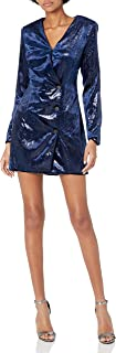 ASTR 标签女式扎尔岛压皱天鹅绒运动服风格连衣裙