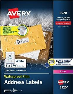 Avery 白色激光打印机用全天候标签,1 x 2.62 英寸,一盒 1500 张 (5520)
