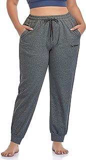 ZERDOCEAN 女式加大码慢跑裤运动裤锥形锻炼瑜伽休闲裤带口袋