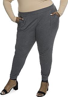 舒适波西米亚翻边褶皱瑜伽休闲慢跑裤 | 女式加大码 | 美国制造