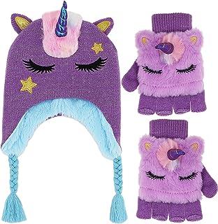 女童可爱闪光独角兽无檐小便帽冬季帽子和手套套装针织耳盖翻盖手套套装