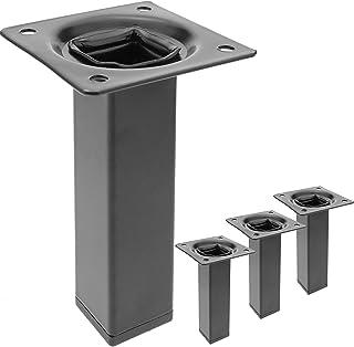 PrimeMatik 桌脚和家具脚,方形腿由黑色钢制成,10 厘米 4 件装(IO052)