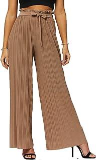 优质弹力女式阔腿裤 - 高腰微褶皱 - 常规和加大码