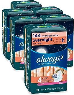 超薄尺码4,清新女性带护翼卫生巾,有香味,每包24支–6包(共144支)