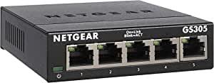 NETGEAR 网件 5 端口千兆以太网非托管交换机 (GS305) – 家庭网络集线器,办公室以太网分配器,即插即用,无风扇金属外壳,桌面或壁挂式