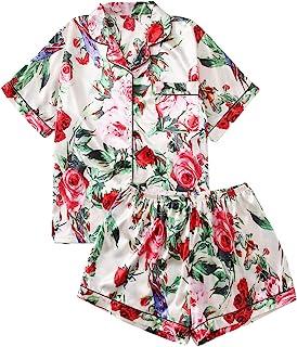 Shein 女式加缎面图案两件套上衣和短裤睡衣套装睡衣