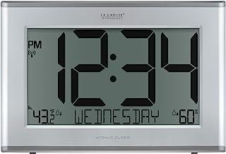 La Crosse Technology 513-63867-INT 超大原子数字时钟,室外温度和湿度,银色