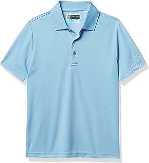 PGA TOUR 男孩标准透气纯色网眼短袖高尔夫 Polo 衫