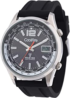 COOLFIRE 太阳能电波模拟手表 Relojes de Hombre 运动*坚韧不锈钢黑色表盘坚固手表适合女士男士飞行员礼物